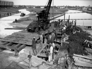 1938 diverting the Orleans canal into Bayou St John for the building of the tie in of Moss and Jeff Davis crossing Orleans