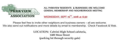2018 September 19th PNA General Meeting Flyer